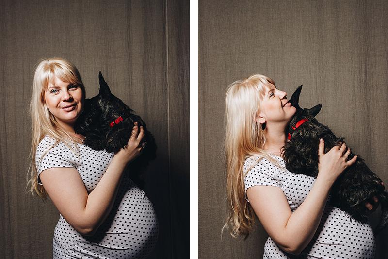 Фотосессия беременных в студии с домашними животными